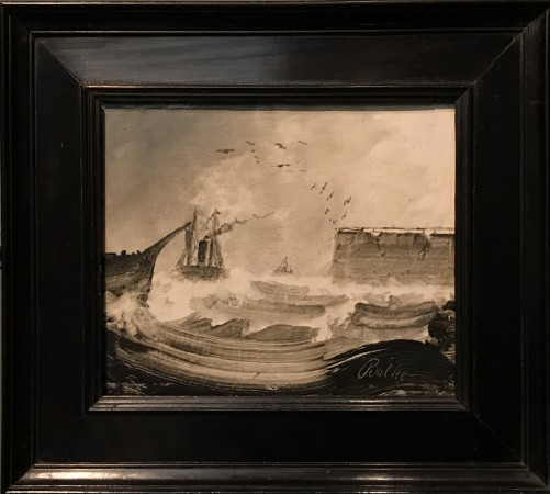 """Ships in a Storm,"" 1870s, by Peder Balke. Oil on wood, collection of Mickey Cartin. (Milene Fernandez/The Epoch Times)"