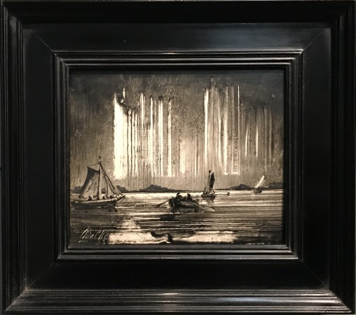 """Northern Lights,"" 1870s, by Peder Balke. Oil on wood, The Hearn Family Trust. (Milene Fernandez/The Epoch Times)"