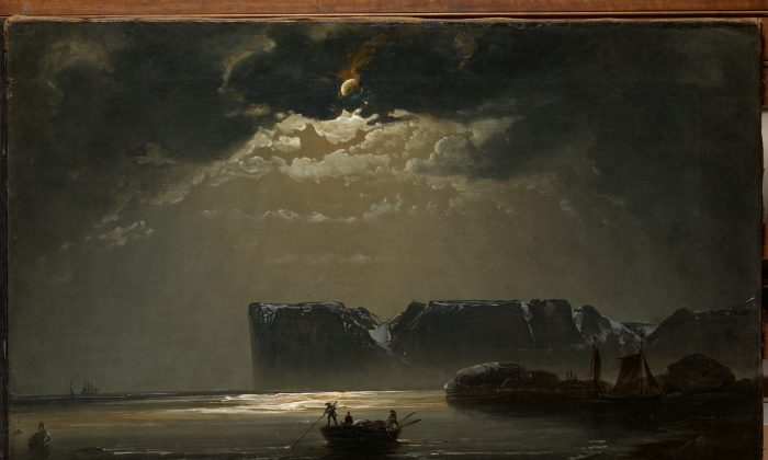 """""""The North Cape by Moonlight,"""" 1848, by Peder Balke. Oil on canvas, private collection, Oslo. (The Metropolitan Museum of Art)"""