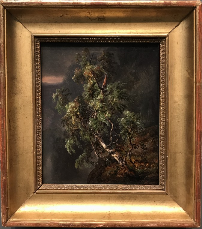 """""""Birch Tree in a Storm,"""" 1849, by Johan Christian Dahl (Norwegian, 1788–1857). Oil on paper, laid down on cardboard, the collection, jointly owned by The Metropolitan Museum of Art and The Morgan Library & Museum, Gift of Eugene V. Thaw, 2009. (Milene Fernandez/The Epoch Times)"""