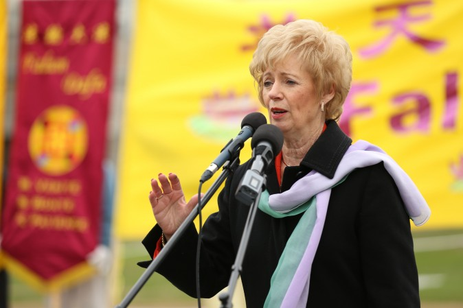 Liberal MP Judy Sgro, co-chair of Parliamentary Friends of Falun Gong, speaks at a celebration on Parliament Hill marking the 25th anniversary of Falun Gong, May 9, 2017. (Evan Ning/Epoch Times)