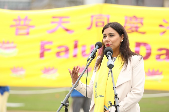 Liberal MP Ruby Sahota speaks at a celebration on Parliament Hill marking the 25th anniversary of Falun Gong, May 9, 2017. (Evan Ning/Epoch Times)