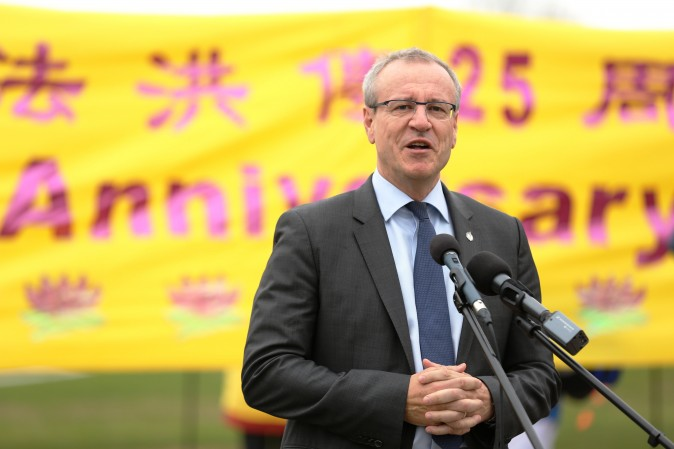 Liberal MP Borys Wrzesnewskyj speaks at a celebration on Parliament Hill marking the 25th anniversary of Falun Gong, May 9, 2017. (Evan Ning/Epoch Times)
