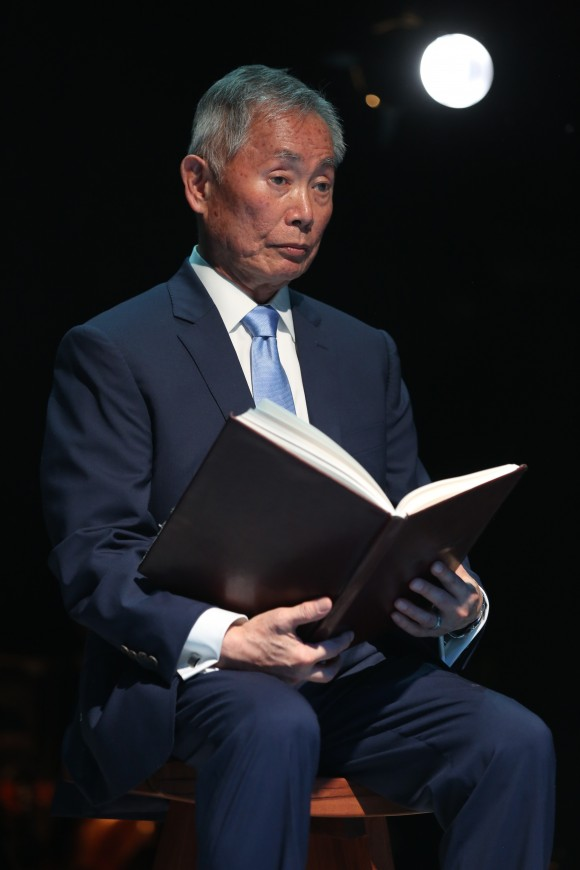 George Takei as the Reciter. (Joan Marcus)