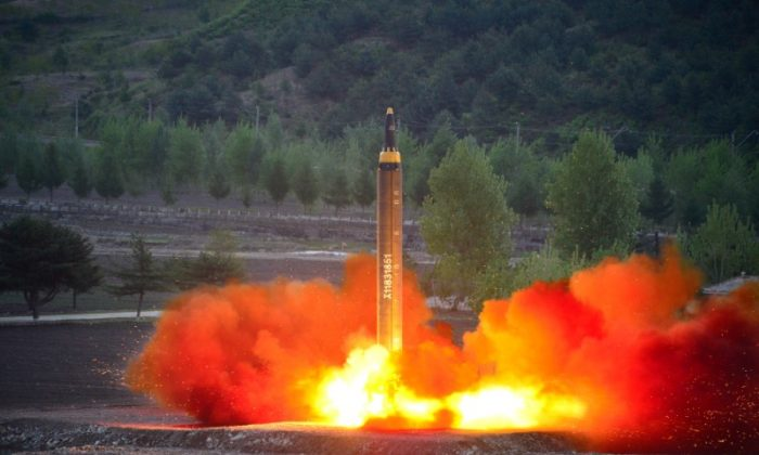 The long-range strategic ballistic rocket Hwasong-12 (Mars-12) is launched during a test in this undated photo released on May 15, 2017. (KCNA via REUTERS)