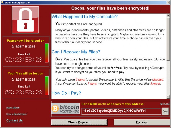 A screenshot shows a WannaCry ransomware demand, provided by cyber security firm Symantec, in  Mountain View, Calif.,  (Courtesy of Symantec/Handout via REUTERS)