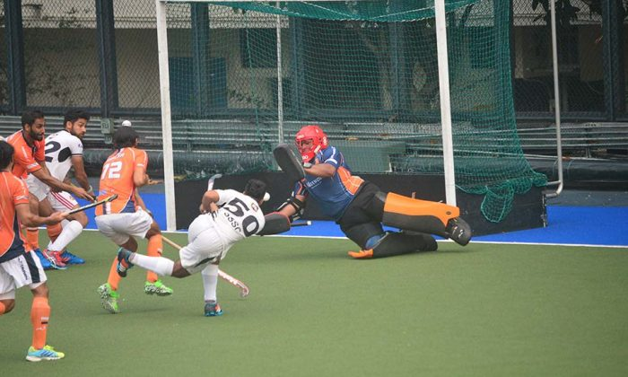 SSSC-A pressure the Khalsa-A goal during the Holland Cup final at King's Park on Sunday May 14, 2017. (Eddie So)