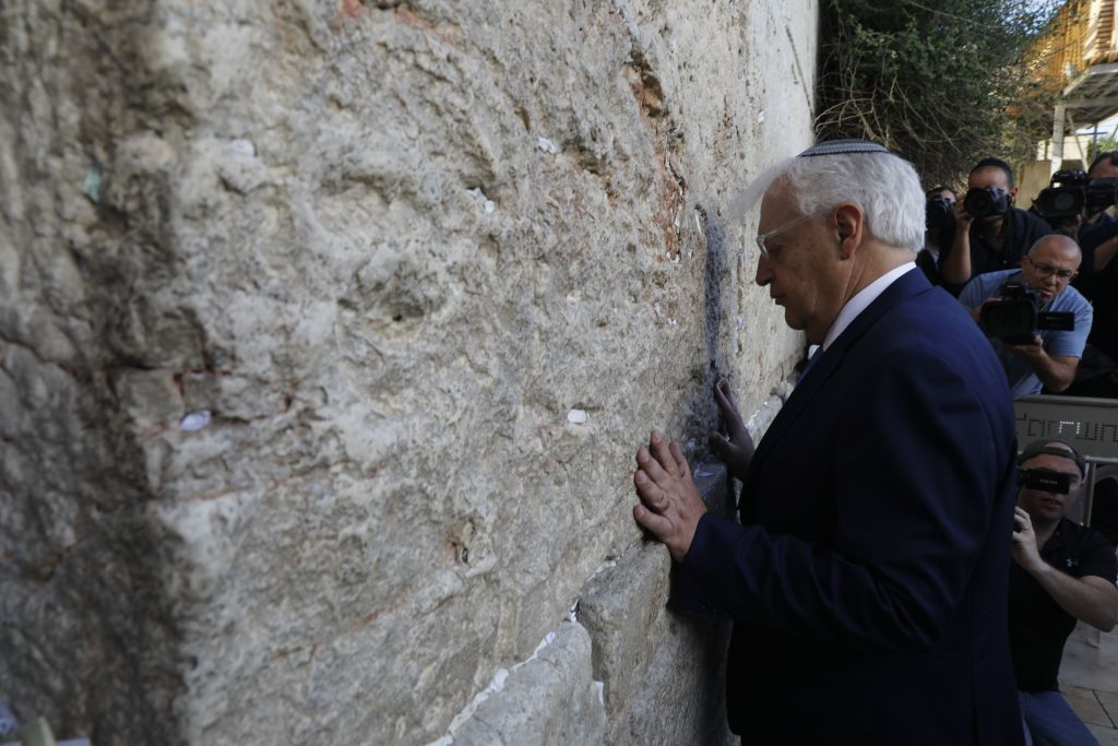 New US ambassador to Israel David Friedman prays at the Western Wall, the holiest site where Jews can pray, in the old city of Jerusalem on May 15, 2017. (MENAHEM KAHANA/AFP/Getty Images)