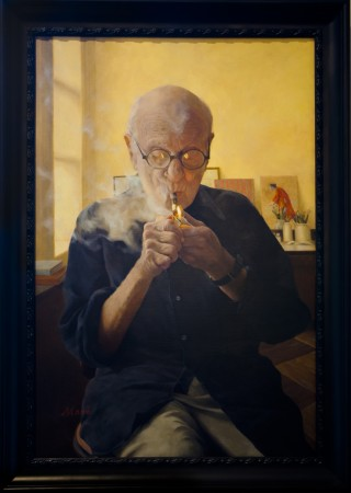 """Blowing Smoke (Portrait of Aaron Shikler),"" 2014, by Nicole Moné. Oil on linen, 36 inches by 24 inches. Dual category winner (figurative and portraiture) of the 12th International ARC Salon at the Salmagundi Club in New York, on May 12, 2017. (Milene Fernandez/The Epoch Times)"