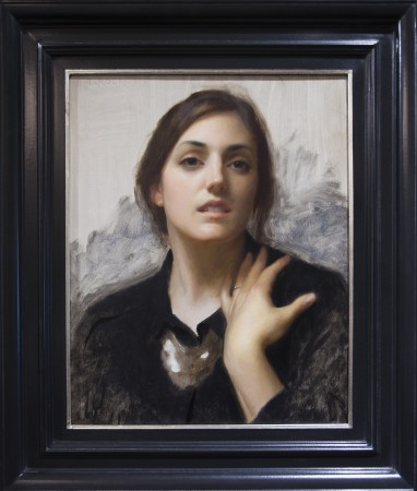 """Laura in Black,"" 2015, by Joshua LaRock. Oil on linen, 20 inches by 16 inches. ARC Purchase Award of the 12th International ARC Salon at the Salmagundi Club in New York, on May 12, 2017. (Milene Fernandez/The Epoch Times)"