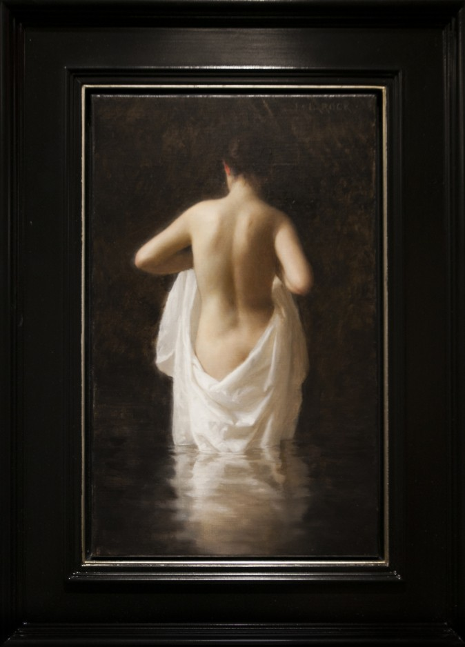 """Bather,"" 2015, by Joshua LaRock. Oil on linen16 inches by 10 inches. Honorable Mention at the 12th International ARC Salon Exhibition at the Salmagundi Club in Manhatan, New York, on May 12, 2017. (Milene Fernandez/The Epoch Times)"
