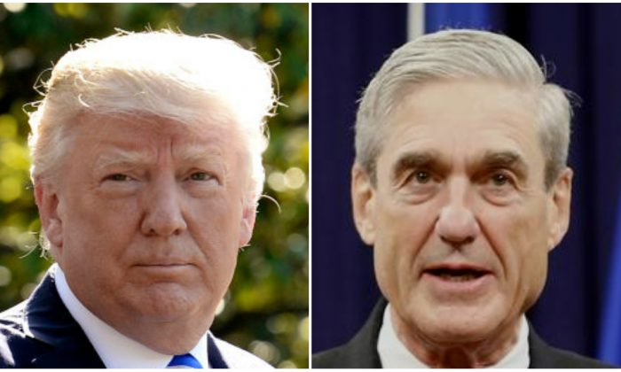 US President Donald Trump (L) walks towards Marine One while departing the White House in Washington, on May 17, 2017; Former FBI Director Robert Mueller (R) during his farewell ceremony at the Justice Department in Washington, on Aug. 1, 2013. (Jonathan Ernst/Reuters; Olivier Douliery/AFP/Getty Images)