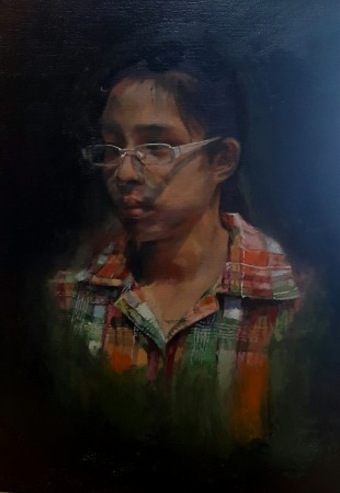 """Perception of Self,"" 2015, by Ray Wanda Totanes. oil, 16 inches by 12 inches. Winner of the DVI Award of the Young Aspiring Artist of the 12th International ARC Salon. (Art Renewal Center)"