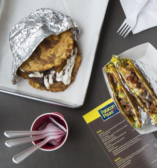 Patacon are a popular Venezuelan street food, made from fried plantains and filled with meat, vegetables, and cheese.(Samira Bouaou/The Epoch Times)