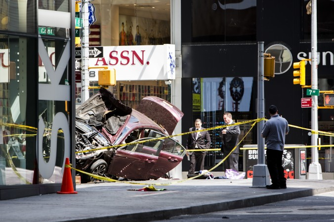 The scene surrounding the area where a vehicle struck pedestrians and  crashed in Times Square, New York, on May 18, 2017. (Samira Bouaou/The Epoch Times)