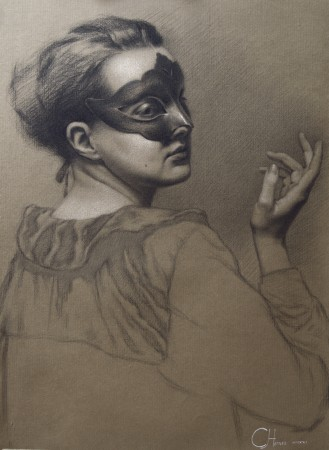 """The Storyteller,"" 2016, by Cornelia Hernes. Chalk and charcoal on paper, 65 inches by 45 inches. Second place winner in the drawing category of the 12th International ARC Salon. (Art Renewal Center)"