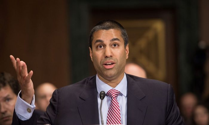 "Federal Communications Commission (FCC) Commissioner Ajit Pai testifies before the Senate Judiciary Committee's Privacy, Technology and the Law Subcommittee hearing on ""Examining the Proposed FCC Privacy Rules"" on Capitol Hill in Washington on May 11, 2016. (NICHOLAS KAMM/AFP/Getty Images)"
