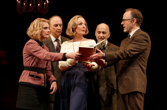 """Lisa Emery, Michael Countryman, Allison Janney, Ned Eisenberg, and John Benjamin Hickey in a scene from """"Six Degrees of Separation."""" (Joan Marcus)"""