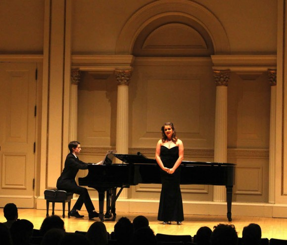 Irish duo, soprano Robyn Richardson accompanied by pianist Keith Stears, perform in Carnegie's Weill Recital Hall as part of the New York Concerti Sinfonietta's 2017 International Shining Stars Debuts. (Jeremy Friers)