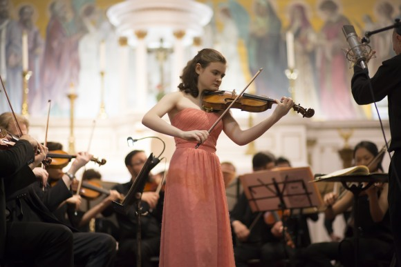 Violinist Clara Neubauer, the daughter of Paul Neubauer of the Chamber Music Society of Lincoln Center and Kerry McDermott of the NY Philharmonic, is a pre-college student of Li Lin at The Juilliard School. (James Eden)