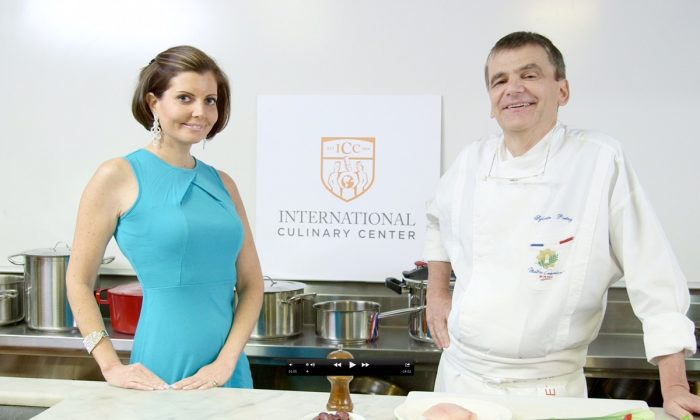 Sibylle Eschapasse and chef Sylvain Portay at the International Culinary Center. (Melinda Martinez/Celebrity Taste Makers)