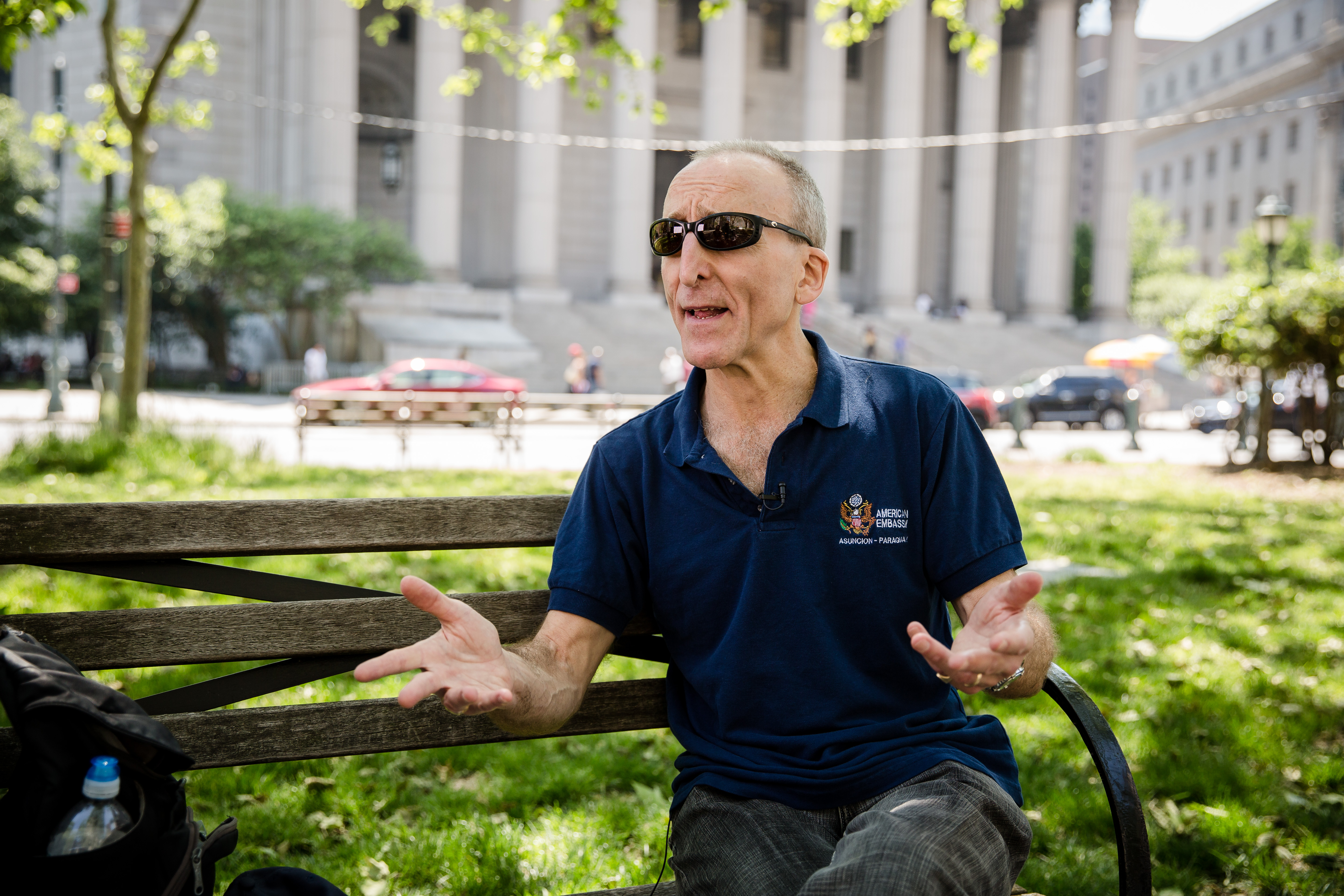 Retired FBI agent Marc Ruskin at the Thomas Paine Park in New York on May 19, 2017. (Benjamin Chasteen/The Epoch Times)