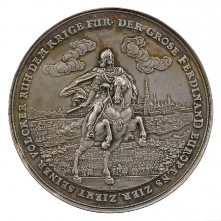 Ferdinand III, Holy Roman Emperor (born 1608; reigned 1637–57), dated 1649, by Sebastian Dadler (1586–1657), 1649. Silver, struck; The Frick Collection; Gift of Stephen K. and Janie Woo Scher, 2016. (Michael Bodycomb)