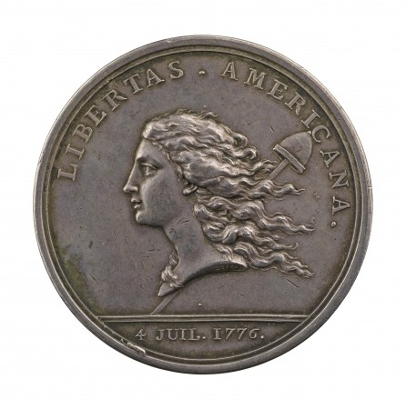 """""""Libertas Americana,"""" 1783 but dated 1781, by Augustin Dupré (1748–1833) and Claude Michel, called Clodion (1738–1814). Silver, struck; Stephen K. and Janie Woo Scher Collection. (Michael Bodycomb)"""