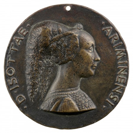 Isotta degli Atti of Rimini (1432/33–1474), dated 1446, by Matteo de' Pasti (1420–died after 1467). Copper alloy, cast; The Frick Collection; Gift of Stephen K. and Janie Woo Scher, 2016. (Michael Bodycomb)