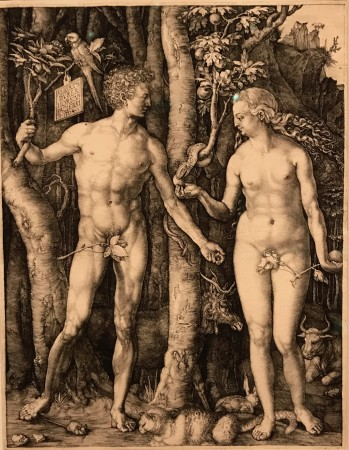 """""""Adam and Eve,"""" 1504, by Albrecht Dürer (1471–1528). Engraving, The Frick Collection; Henry Clay Frick Bequest. (Milene Fernandez/The Epoch Times)"""