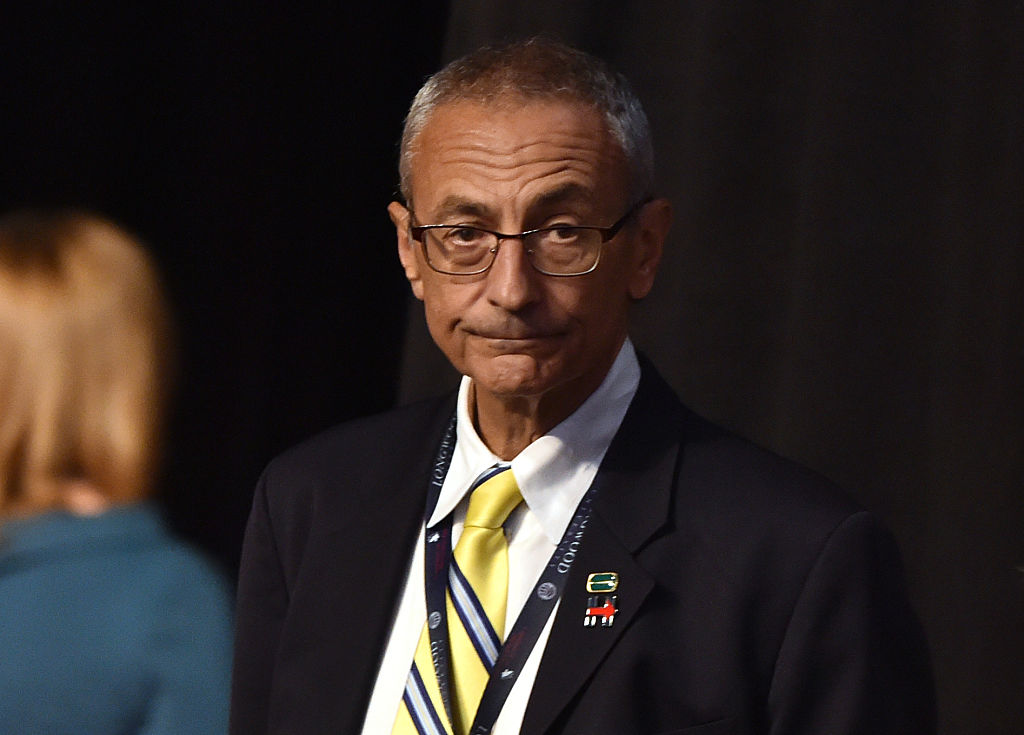 John Podesta, Chairman of the 2016 Hillary Clinton presidential campaign, looks on before the first vice presidential debate at Longwood University in Farmville, Virginia on October 4, 2016. (PAUL J. RICHARDS/AFP/Getty Images)
