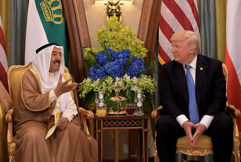President Donald Trump (R) and Kuwait's Emir Sheikh Sabah al-Ahmad al-Jaber al-Sabah take part in a bilateral meeting at a hotel in Riyadh on May 21, 2017. (MANDEL NGAN/AFP/Getty Images)