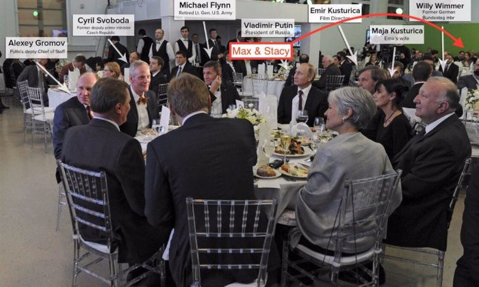 This annotated photo shows the head table of a gala celebrating the tenth anniversary of Russia Today in December of 2015 with its participants. Vladimir Putin actually did not attend the dinner. (Sreenshot via NBC News and Max Keiser, original: Mikhail Klimentyev / Sputnik, Kremlin Pool Photo via AP)