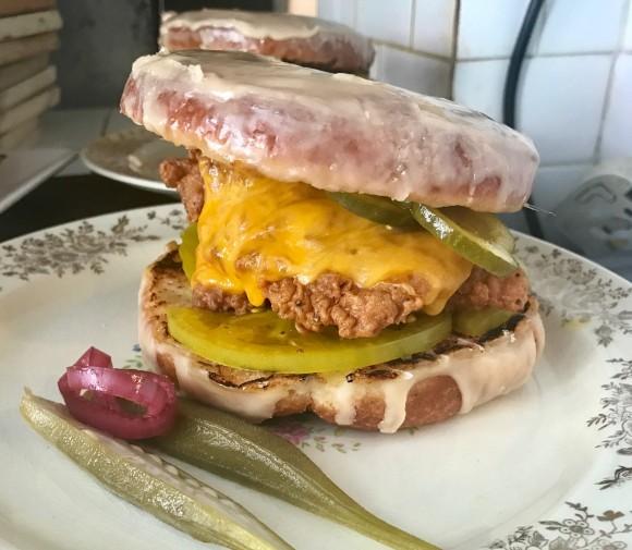 The doughnut fried chicken sandwich. (Courtesy of Root & Bone)