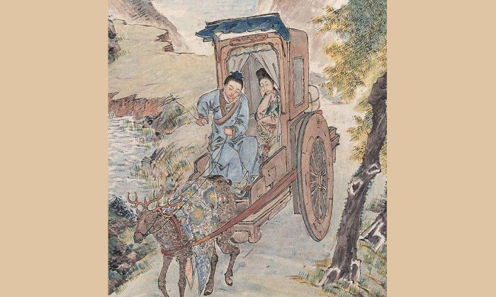 "Image depicting the current-day Chinese saying which describes a united young couple who live happily even in poverty with the term ""riding together in a carriage driven by deer"". (Internet photo)"