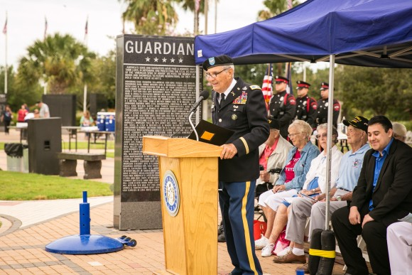 Col. Frank S. Plummer speaks at the Veterans War Memorial of Texas in McAllen, Texas, on May 29, 2017. (Benjamin Chasteen/The Epoch Times)