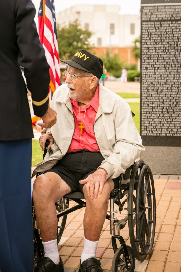 World War II Navy veteran Robert A. Watkins, at the Veterans War Memorial of Texas in McAllen, Texas, on May 29, 2017. (Benjamin Chasteen/The Epoch Times)