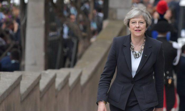 Britain's Prime Minister Theresa May arrives at the ancient Greek Theatre of Taormina during the Heads of State and of Government G7 summit, in Sicily on May 26, 2017. (TIZIANA FABI/AFP/Getty Images)