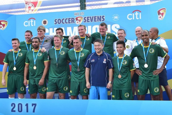 Wallsend Boys Club runners up in the 2017 Soccer Sevens Masters Championship. (Bill Cox/Epoch Times)