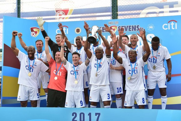 Citi All Stars winners of the 2017 Soccer Sevens Masters Championship on Sunday May 28. (Bill Cox/Epoch Times)