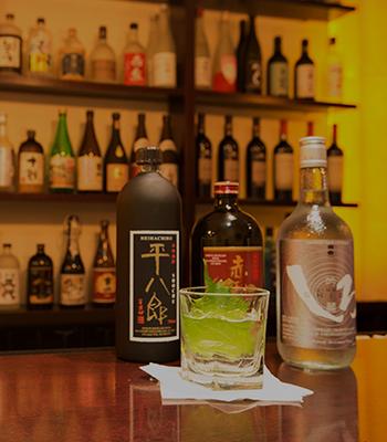 Shimizu's Japanese liquor collection. (Courtesy of Shimizu Sushi and Shochu Bar)