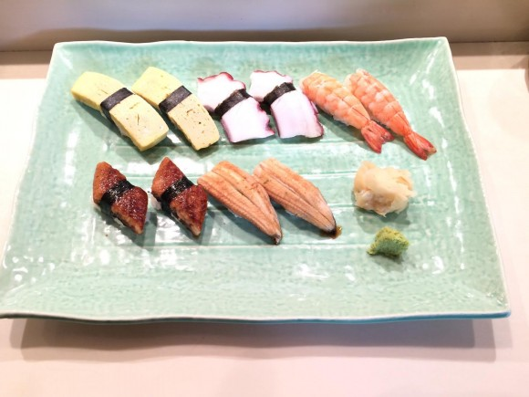A platter of sushi prepared by chef Shimizu. (Juliet Song)