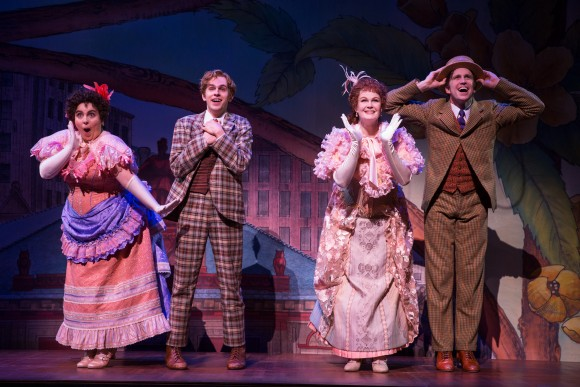(L–R) Beanie Feldstein, Taylor Trensch, Kate Baldwin, and Gavin Creel in