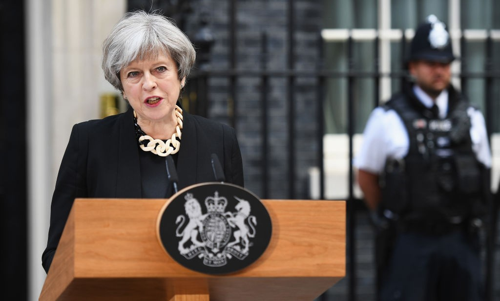 Britain's Prime Minister Theresa May addresses the media as she makes a statement, following a COBRA meeting in response to last nights London terror attack, at 10 Downing Street in London, England on June 4, 2017. (Leon Neal/Getty Images)