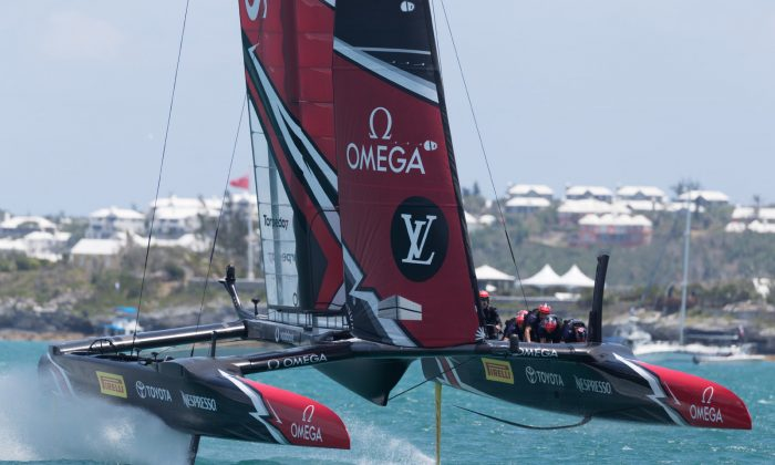 Although Emirates Team New Zealand capsized in race 4 of the series they still lead Land Rover BAR 3-1 in the Louis Vuitton America's Cup Playoffs semi-finals at the end of  Day 2. (ACEA   2017 Gilles Martin-Raget)