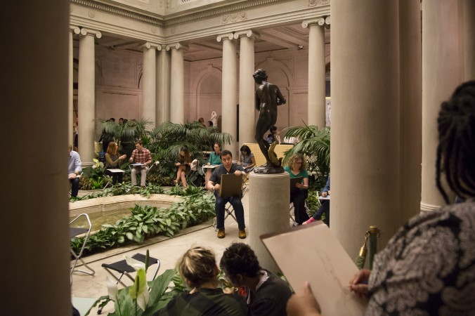 Open sketch at the First Fridays event at The Frick Collection in New York City on June 2, 2017. (Samira Bouaou/The Epoch Times)