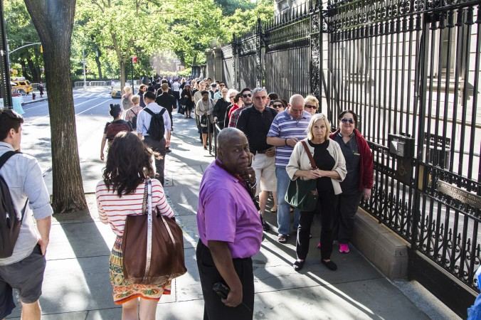 People line up for the First Fridays event at The Frick Collection in New York City on June 2, 2017. (Samira Bouaou/The Epoch Times)
