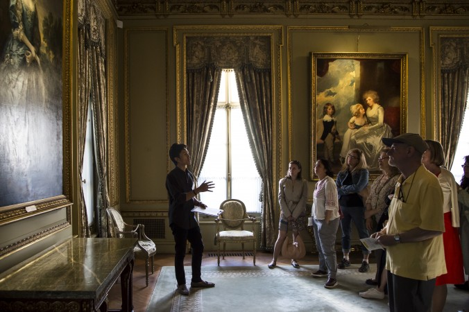 Vincent Tolentino, education assistant, gives a  talk at the First Fridays event at The Frick Collection in New York City on June 2, 2017. (Samira Bouaou/The Epoch Times)