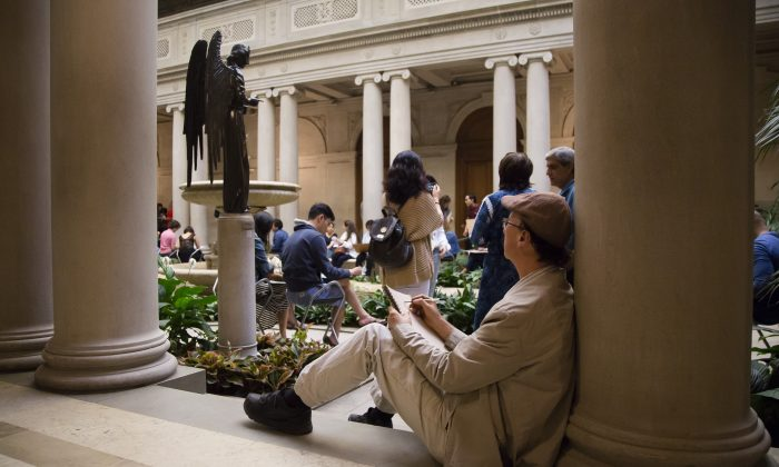 "Open sketch at the ""First Fridays"" event at The Frick Collection in New York City on June 2, 2017. (Samira Bouaou/The Epoch Times)"