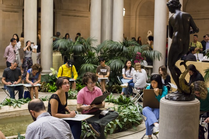 Open sketch at First Fridays at The Frick Collection in New York City on June 2, 2017. (Samira Bouaou/The Epoch Times)